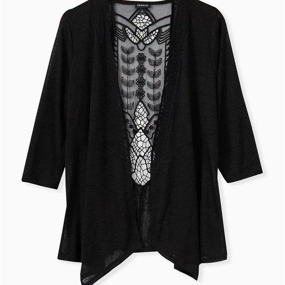 Plus Size Crochet Back, Drape Front Cardigan